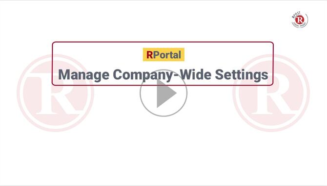 RPortal Customer Administrator Company Settings Video